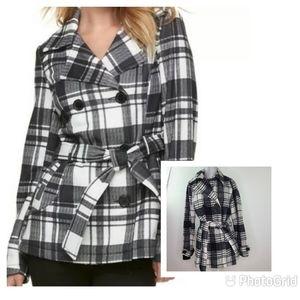 Jou Jou Plaid Pea Coat  Black & White Wool Blend